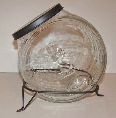 SELLERS Antique Vtg Glass Display Counter Jar Hoosier Canister + Cast Iron Stand