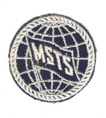 """MSTS patch:  Military Sea Transportation Service - 2"""" on navy blue twill"""