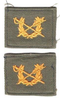 Cloth Army Collar Badge:  Judge Advocate General Officer, pair - OD