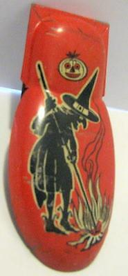 Vtg Halloween Tin Clicker/Noisemaker Witch/Jack-O-Lantern Graphic USA Kirchof