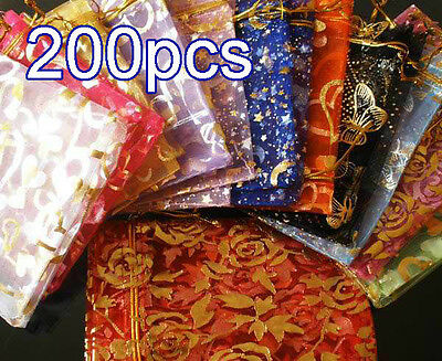 """200Pcs Mixcolor Pattern Drawstring Organza Flare Wedding Gift Pouch Bag 4.5x3.5"""""""
