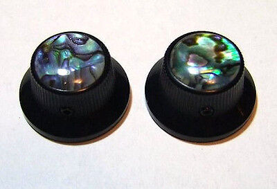 Guitar Hardware METAL TOPHAT Skirt KNOBS 1/4inHole - ABALONE TOP - Set 2 - BLACK
