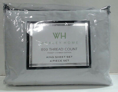 NEW Wexley Home 800TC Cotton-Rich 4pc Sheet Set King Grey $159