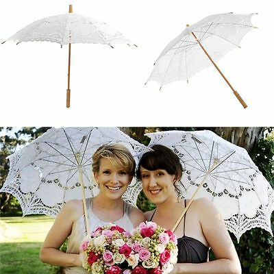 Wedding Vintage Lace Umbrella Parasol Party Bridal Accessory Floral Sun Umbrella