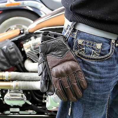 Leather Motorcycle Gloves Carbon Knuckle Protection Black/Brown 2XL & Carabiner