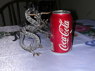 """6"""" Standing Hand BLown CRYSTAL DRAGON Figurine Clear Gold Black glass"""