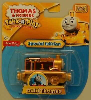 NEW Take-n-Play GOLD Thomas The Tank Engine & Friends Die-Cast Metal Trains