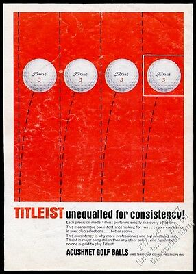 1965 Titleist 3 golf ball balls Unequalled For Consistency vintage print ad