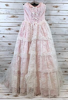 Vintage 80s Alfred Angelo White Pink Lace Prom Dress Ball Gown 5/6 Fits XS