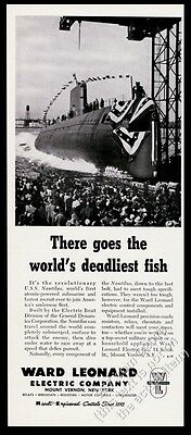 1954 USS Nautilus submarine launch photo Ward Leonard Electric vintage print ad