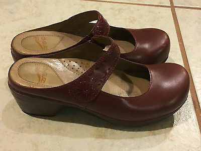 Dansko Brown Leather Mary Jane Strappy Clogs Shoes EU 38 US 7-7.5