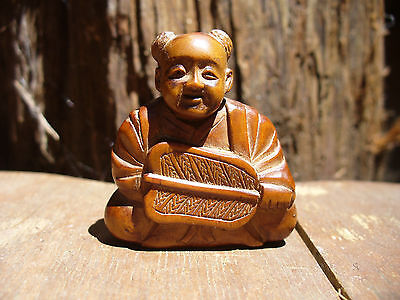 Antique Boxwood Boy with Fan Netsuke with Signature