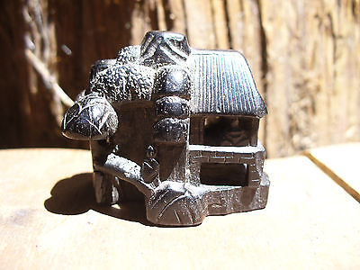 Antique Bovine Horn Miniature Pagoda Netsuke with Signature