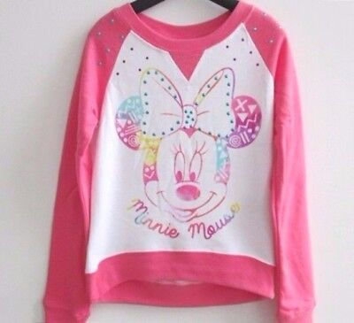 BNWT-Girls Disney Minnie Mouse Pink & White Jumpers Many Sizes.