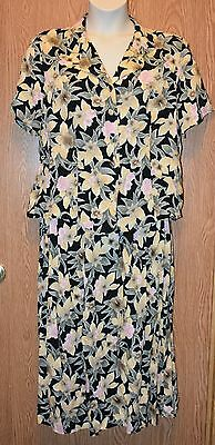 Womens Pretty Floral Sag Harbor 2 Piece Skirt Outfit Size Large excellent