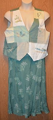 Womens Pretty Leafy Two Twenty 2 Piece Skirt Outfit Size Large excellent