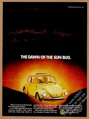 1974 VW Beetle classic yellow car photo Sun Bug special edition vintage print ad