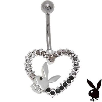 NEW Playboy Belly Ring Bunny Logo Crystal Heart Navel Button Body Jewelry Box
