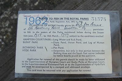 Rare 1958 Royal Parks Fishing Permit