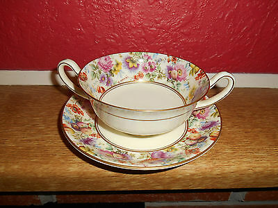 Royal Doulton, Two Handle Soup Bowl  And Saucer ,the Shrewsbury