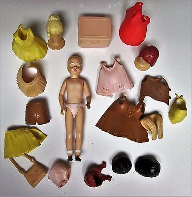 """Vintage 1960 Marx Toys 5"""": Fashion  Doll  Play set with Clothing & Accessories"""
