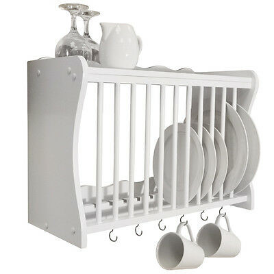 Wall Mounted Kitchen Plate / Storage Rack White WD1890