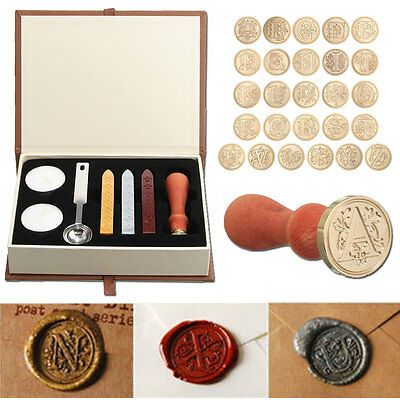 Initial Vintage Wax Badge Seal Stamp Wax Tool Alphabet Letters A - Z Kit Set Hot
