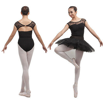 Black Leotard.Lace Open Back Ballet Dance Bodysuit.Dancewear