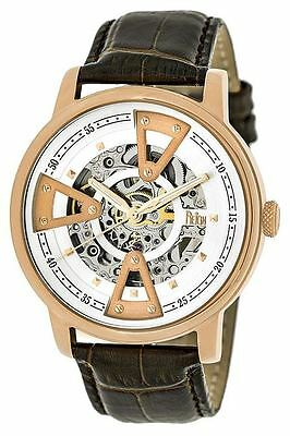 Reign Mens Belfour Automatic Skeleton Dial Crocodile-Embossed Leather: REIRN3604