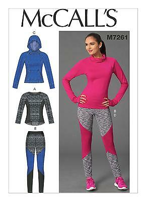 McCall's SEWING PATTERN M7261 Sports Tops & Leggings Misses 6-14 Or 14-22