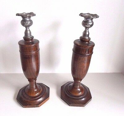 "vintage 1930's pair solid oak candlesticks Old England style 12"" high"