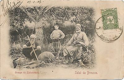 Turkey, Turkish Farmers, Peasants, Types, Old Postcard Pre. 1905