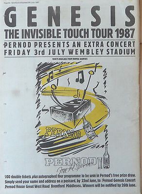 GENESIS : Invisible Touch Tour 1987 -Poster Size NEWSPAPER ADVERT- 28cm X 39cm