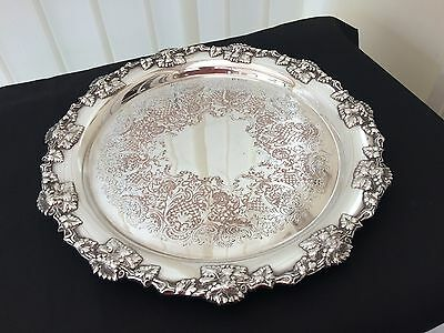 vintage ornate silver plated round gallery / serving tray on ball feet
