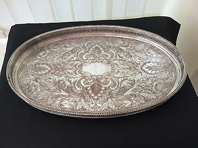 vintage large oval silver plate on copper tray hallmarked w & a