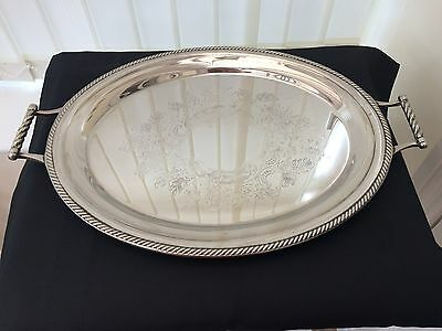 vintage large twin handle silver plated gallery / serving tray