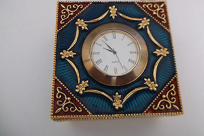 Square Enamel Pretty Trinket Box With Clock Insert In Centre 3.5 Inch Square
