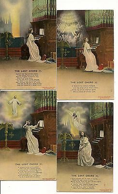 4 Old Postcards-SONG TYPE-'''THE LOST CHORD'''-1908-UK-by Bamforth.
