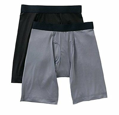 Athletic Works Men's Performance Long Boxer Briefs, 2 Pack