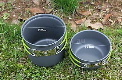 Outdoor Camping Hiking Cookware Backpacking Cooking Picnic Bowl Pot Set New U0N9