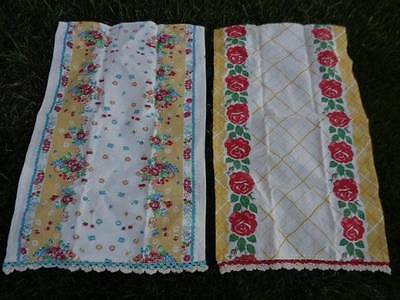 2 Moda Home Vintage Style Kitchen Towels Crochet Edge Unused Looky
