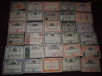 C - Collection Of 30 Various Share Certificates Eurodisney Railway Mining Bank