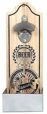 Vintage Retro Wooden Wall Mounted Beer Bottle Opener - Brewery