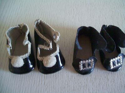 Two Pairs Antique German Small Black Doll Shoes, VGC!
