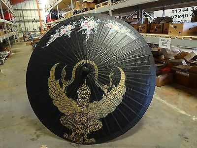 Vintage Large Japanese Lacquered Rice Paper Parasol Umbrella 200 Cm Diameter