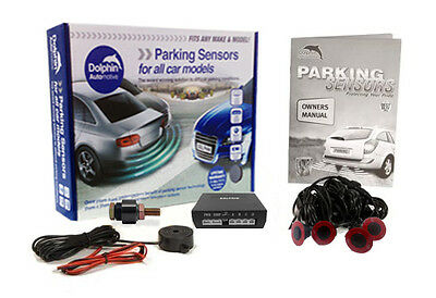 Dolphin Gloss Black Flush Fit Parking Sensors Kit Reverse Reversing Audible Beep