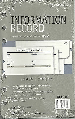 """FRANKLIN COVEY Information Record Refill Compact 4 1/4"""" x 6 3/4"""" 50 Sheets NEW"""