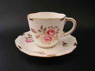 Royal Crown Derby Pinxton Roses Vintage China Demitasse Coffee Cup Saucer c1940s
