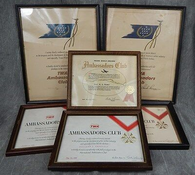 Group of Early & Vintage TWA Ambassadors Club Certificates~1957,1960,1961,1962,