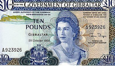 RARE GOVERNMENT OF GIBRALTAR 1986 £10 NOTE. PREFIX  A923926  #P22b  GEM  UNC